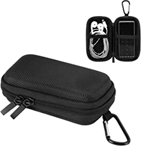 AGPTEK Durable MP3 Player Case, Portable Clamshell Headphones Cover, Holder with Metal Carabiner Clip for MP3 Players, USB Cable, Earphones, Memory Cards, U Disk, Lens Filter, Keys, Coins, Black