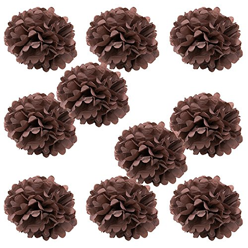 WYZworks Set of 10 - BROWN 10'' - (10 Pack) Tissue Pom Poms Flower Party Decorations for Weddings, Birthday, Bridal, Baby Showers, Nursery, Décor by WYZworks