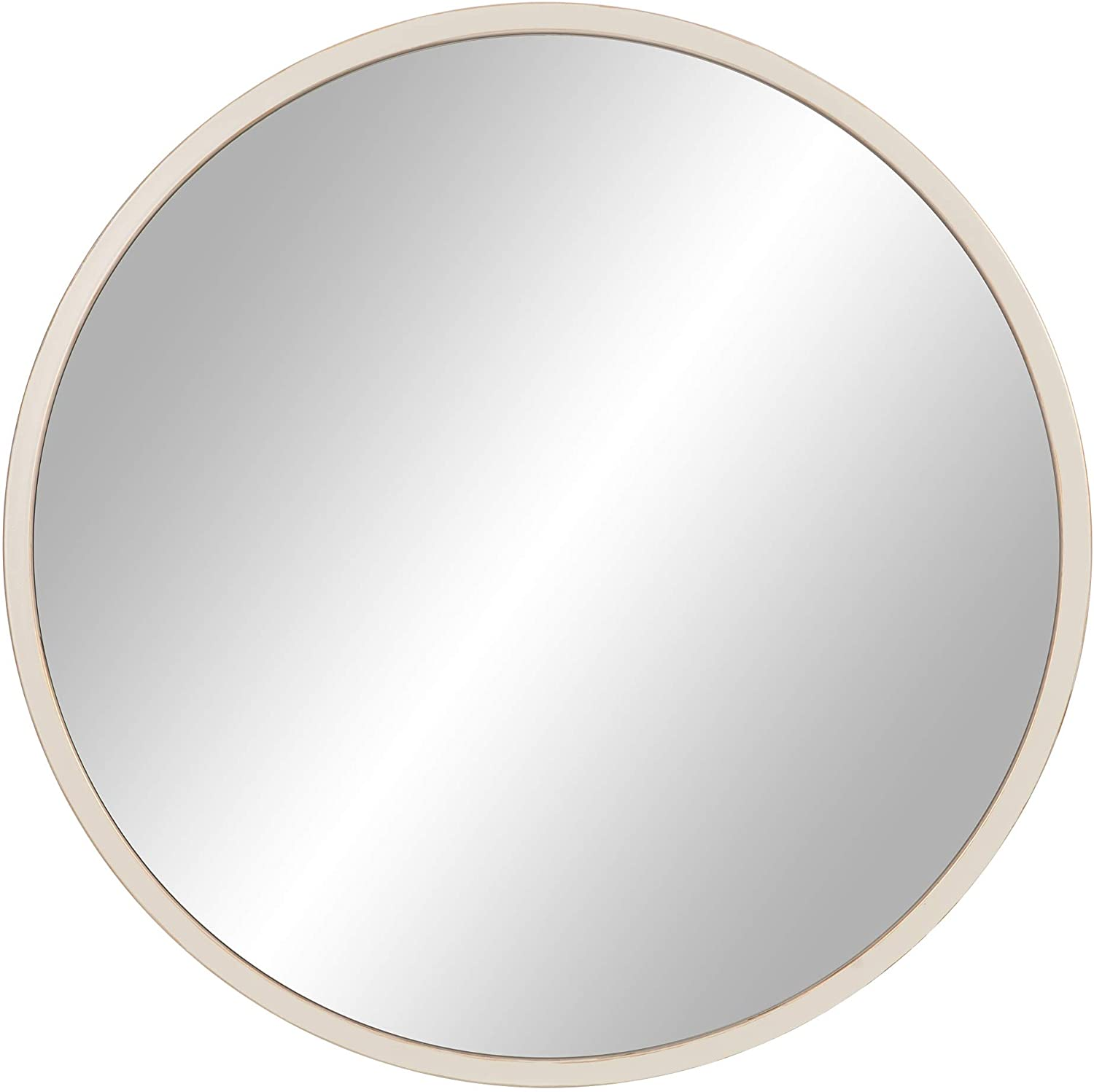 "30"" Distressed White Metal Framed Round Wall Mirror"