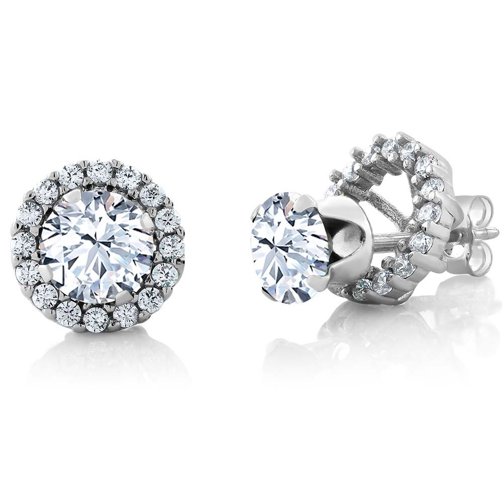 1.68 Ct Round 6mm White Zirconia Sterling Silver Removable Jacket Stud Earrings
