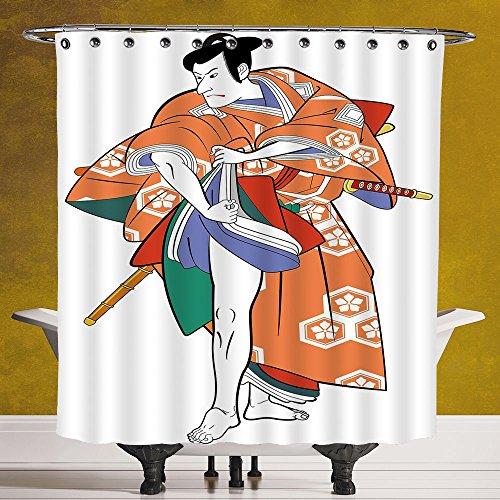 Cool Shower Curtain 3.0 by SCOCICI [ Kabuki Mask Decoration,Kabuki Actor with Traditional Costume Historic Edo Era Drama Culture Decorative,Multicolor ] Digital Print Polyester Fabric Bathroom - It Ninja Yourself Do Costume