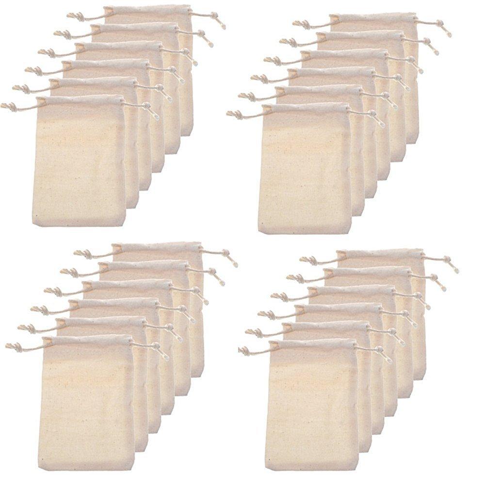 Erlvery DaMain Pack of 24pcs 2.75x4 Inch Wood color Double Drawstring Cotton Linen Jute Cloth Sack Muslin Bags Jewelry Pouch Reusable Bags Tea Bags Souvenir Gift Bag Allure Maek
