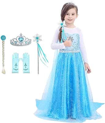 Domiray Little Girls Elsa Princess Dress Costume