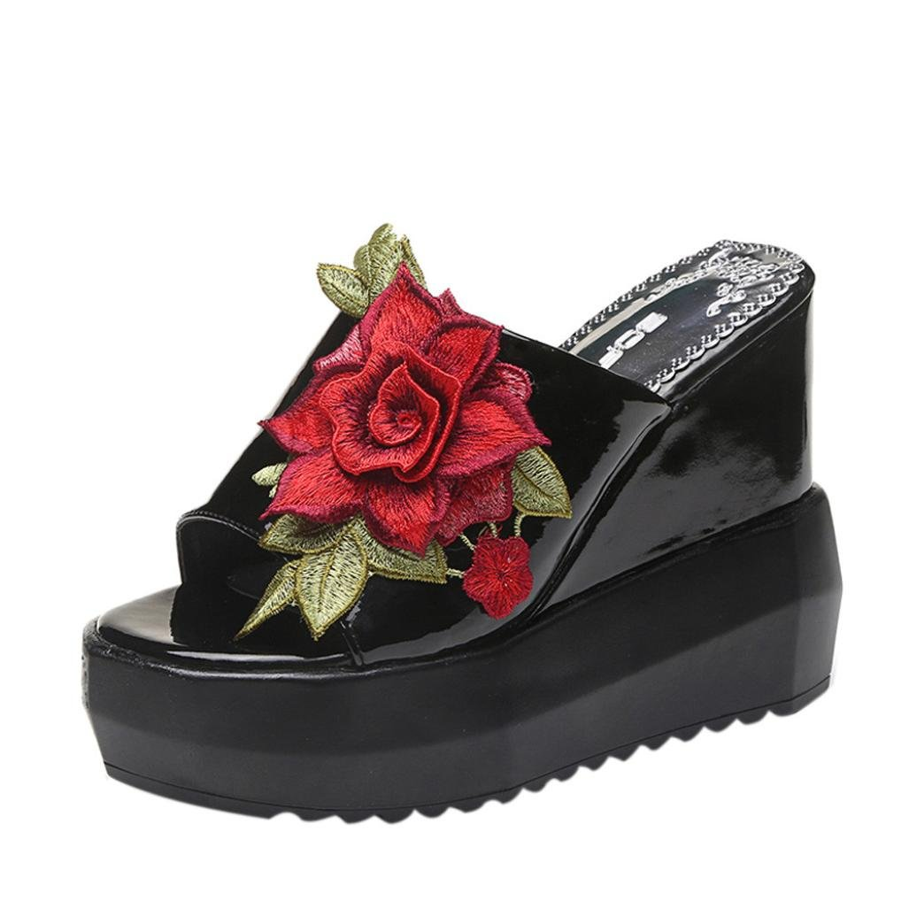 AIMTOPPY Summer Shoes, Women Thick-bottom sloped sandals Embroidered High-Heeled Wedges Platform Shoes (US:7, Black)