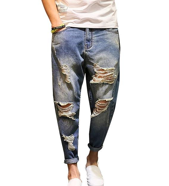 più recente acquisto speciale dove comprare Baymate Uomo Jeans Strappati Lavato Pantaloni Vintage ...