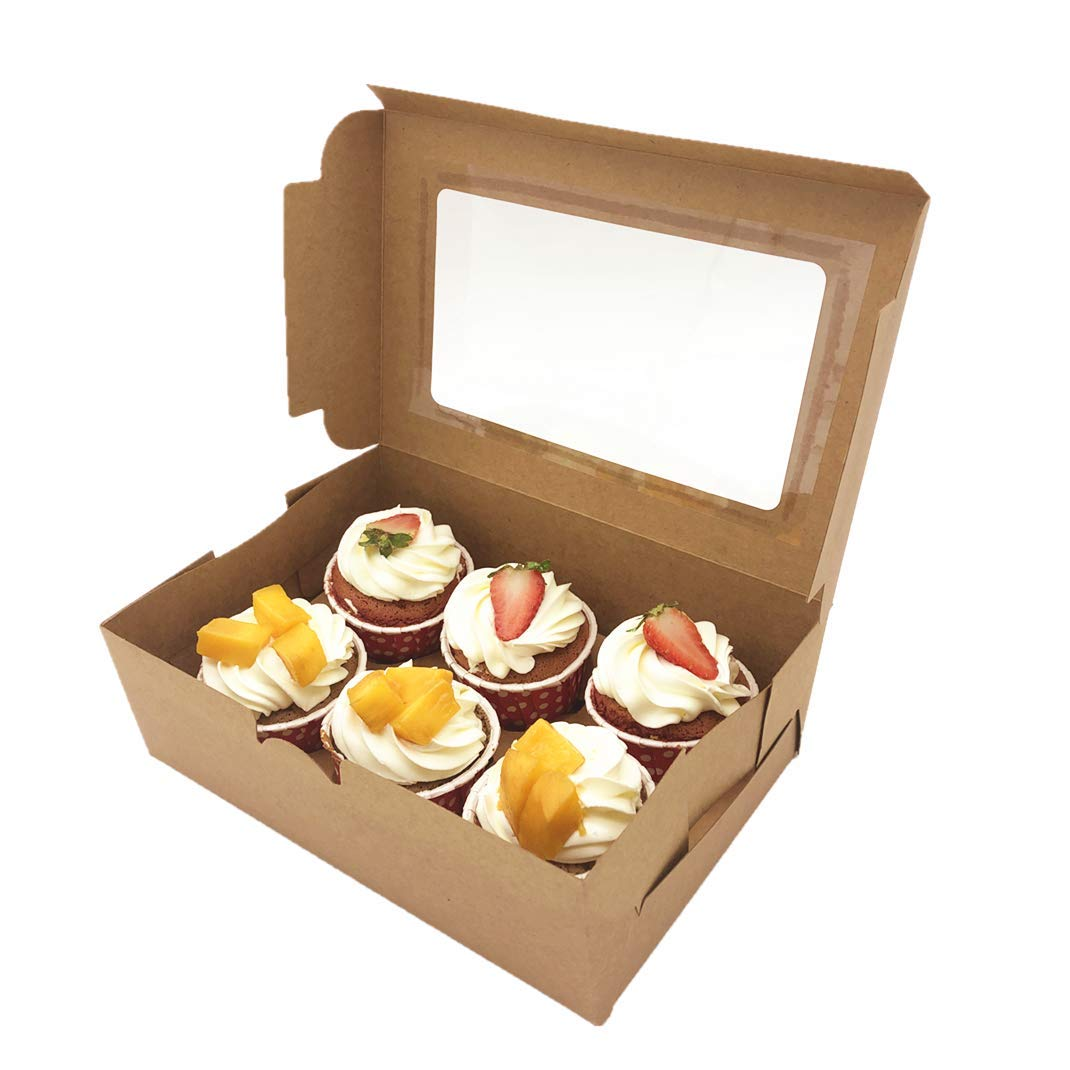 30-Set Cupcake Boxes with Inserts and Window Fits 6 Cupcakes, 9.4'' x 6.3'' x 3'', Brown Food Grade Kraft Cookie Gift Boxes, Treat Boxes for Cookies, Bakeries, Muffins and Pastries by Aglahome (Image #6)