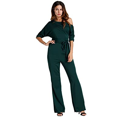 ce2e4a3c228 Amazon.com  Haogo Womens Sexy One Off Shoulder Half Sleeve Wide Leg  Jumpsuit Romper With Belt  Clothing