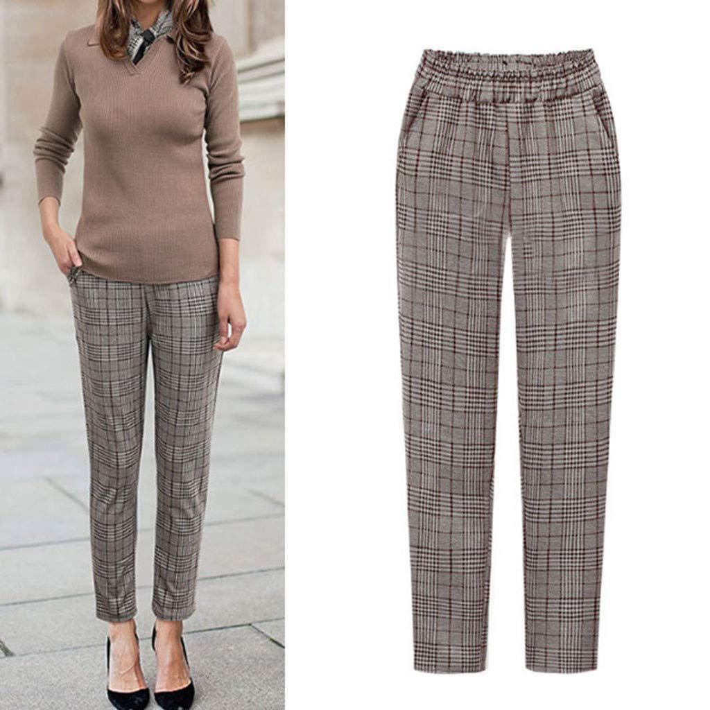 Zarupeng Plaid Gestreifte Freizeithose Frauen Slim Stoffhose Plus Size Straight-Bein-Hosen Elastische Taille Casual Fitness Hosen mit Taschen