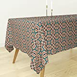 Roostery Tablecloth - Renaissance Turkish Islamic Persian Victorian Spanish Tile by Muhlenkott - Cotton Sateen Tablecloth 70 x 70