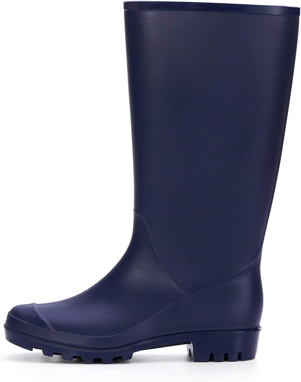 mysoft Women's Knee High Rain Boots Waterproof Tall Rain Footware Wellies Garden Boots