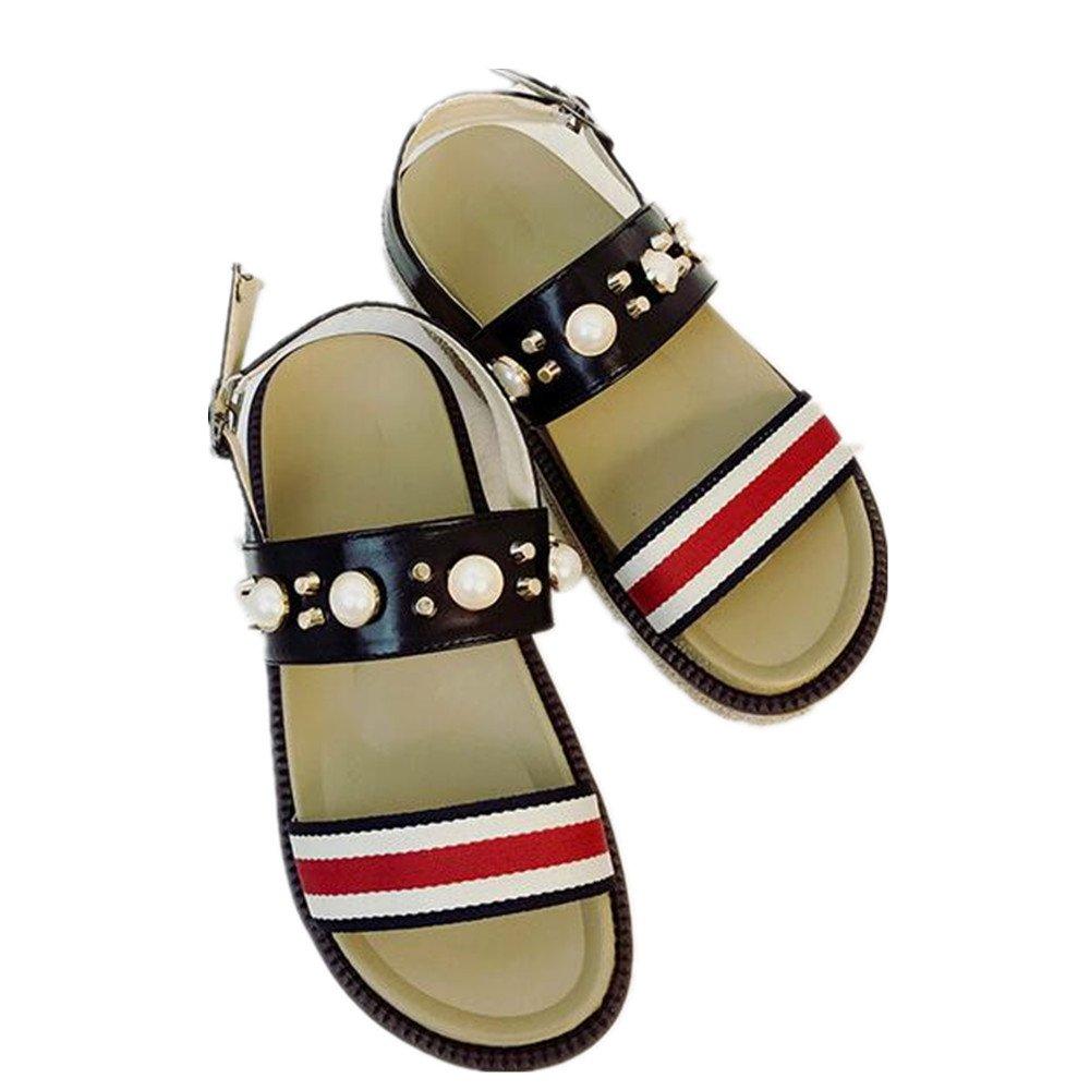 PRETTYHOMEL Female Sandals Shoes Wedge Platform Leather Ladies Sandals High Heels Weave Sandals for Women B07CYQB72G 38/7.5 B(M) US Women|Black