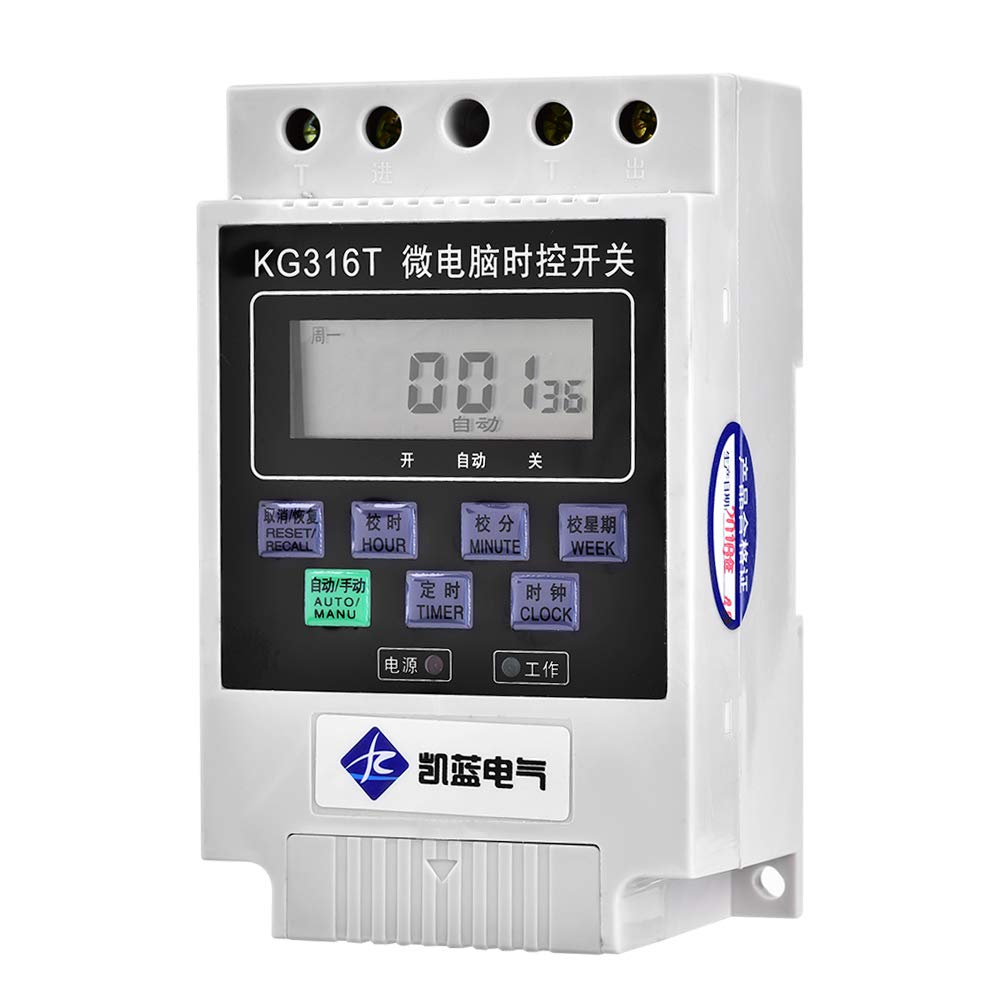 Microcomputer Timer Switch, LCD Digital Electronic KG316T Intelligent Microcomputer Timer Switch Controller ON/Off AC220V