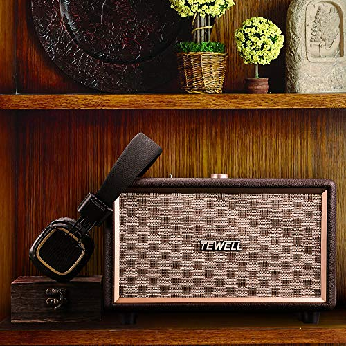 Bluetooth Speakers, TEWELL Retrorock AC Powered Vintage Speaker with 24W Audio Output (Brown) by TEWELL (Image #1)