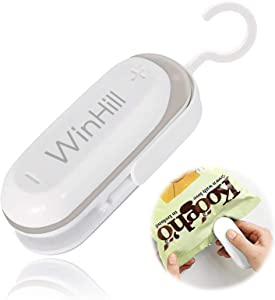 Mini Bag Sealer and Cutter, 2 in 1 Portable Heat Sealing Machine, Handheld Food Saver with Detachable Hook, Vacuum Sealers for Plastic Bags, Household Resealer for Snacks Storage Chips Cookies Sandwiches Potatoes - White