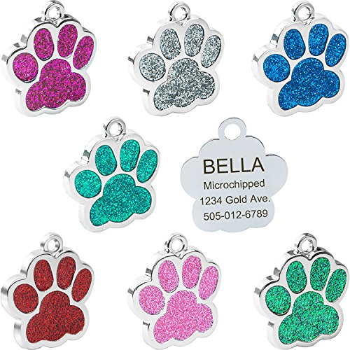 Pet Dog Puppy Tag - Vcalabashor Pet ID Tags for Small Dog & Cat Trade; / Glitter Eye-Catch Pet Tag/Customized Dog Tag/Bling Personalized Engraved Pet ID Tags/Blue / Pink/Silver / Red/Cherry Red / 1.0