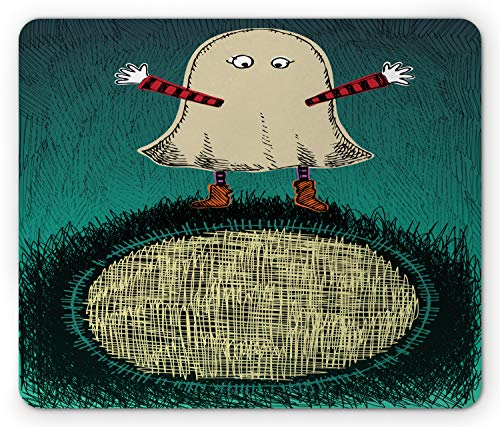 Ambesonne Ghost Mouse Pad, Sketchy Doodle Design with a Funny Kid in a Ghost Costume for The Halloween Holiday, Standard Size Rectangle Non-Slip Rubber Mousepad, Multicolor -