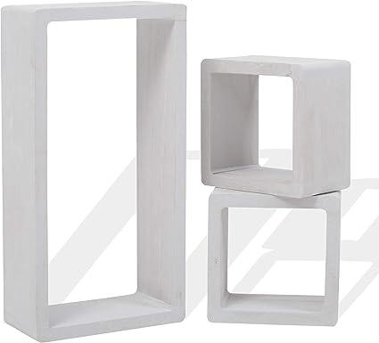 Rebecca Mobili Juego de 3 estantes, estantes para Colgar, 1 rectángulo 2 Cubos, Madera Blanca, Estilo Shabby, Muebles Sala de Estar- Medidas: 41 x 24 ...