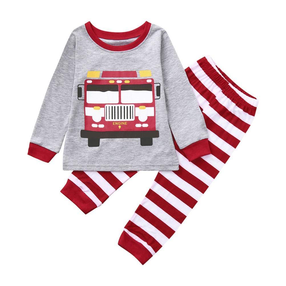 Little Kids Autumn Cartoon Pajamas Sets,Jchen(TM) Toddler Infant Kids Little Boy Long Sleeve Cartoon Car Tops Striped Pants Outfits for 1-5 Y (Age: 3-4 T)