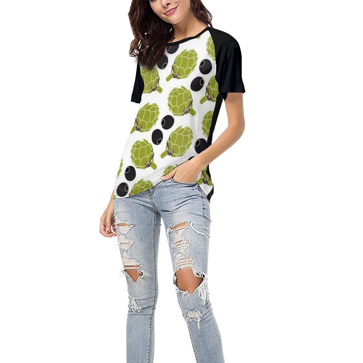 QWXZC Olive Salad Womens Short Sleeves Baseball Tee Casual Raglan Shirt Baseball Raglan T-Shirt.Black.