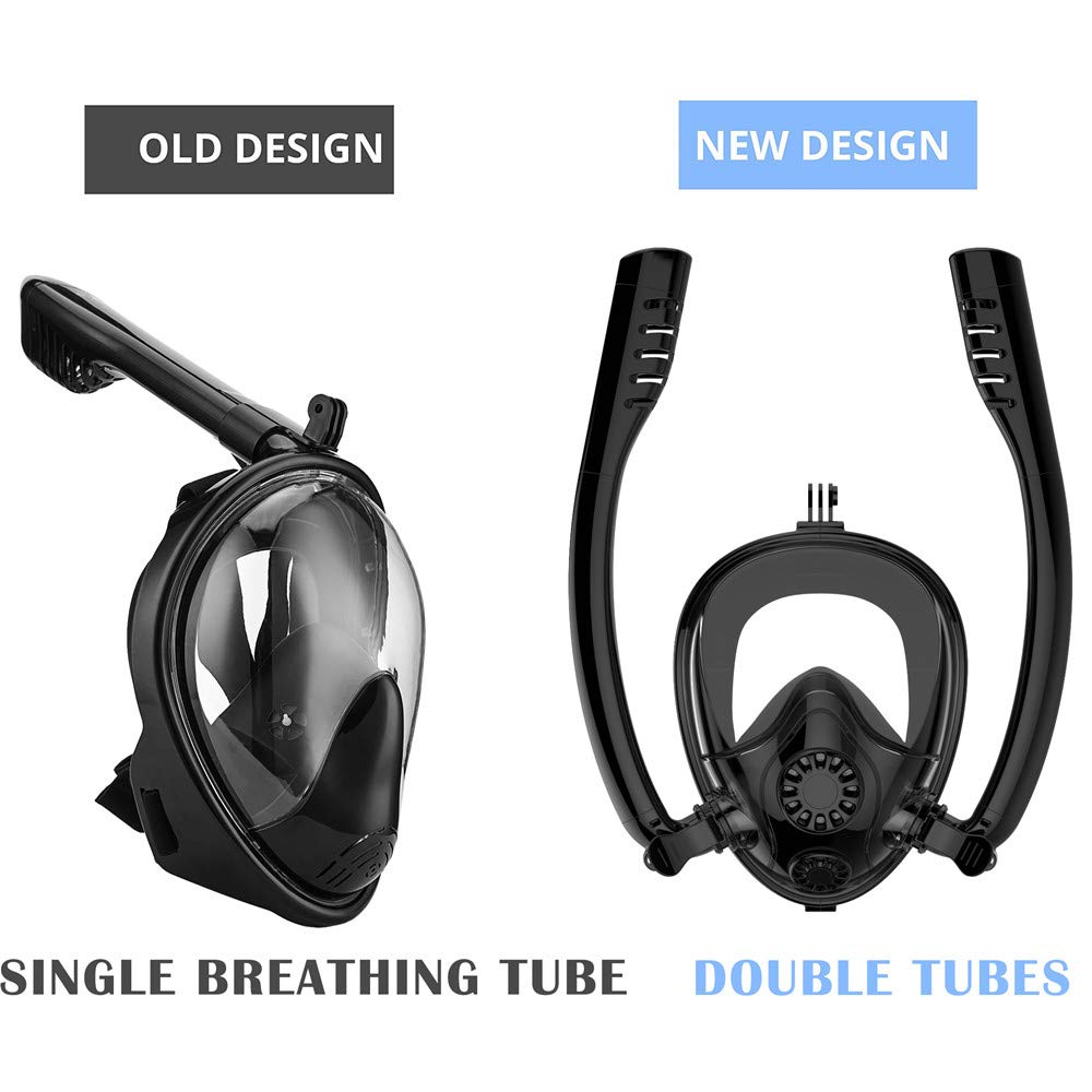Full Face Snorkel Mask, HJKB K2 Free Breathing Snorkeling Mask with Double Tubes and 180° Panoramic Viewing, Zero Fog and Anti Leak Guarantee with Camera Mount for Adult (Orange, Medium Adult) by Jahuite (Image #3)