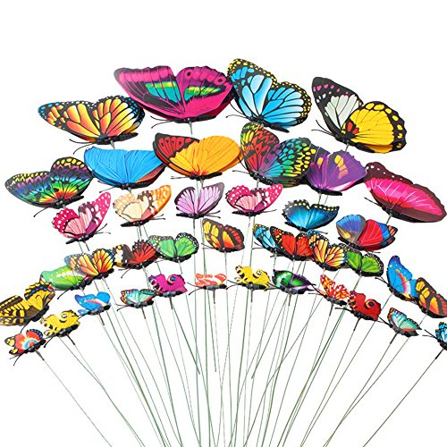 Teenitor Butterfly Garden Stake, 5 Different Size Butterfly Stakes Garden Ornaments & Patio Decor Butterfly Party Supplies Garden Stakes Decorative For Outdoor Yard Christmas Decorations(Set of 40)