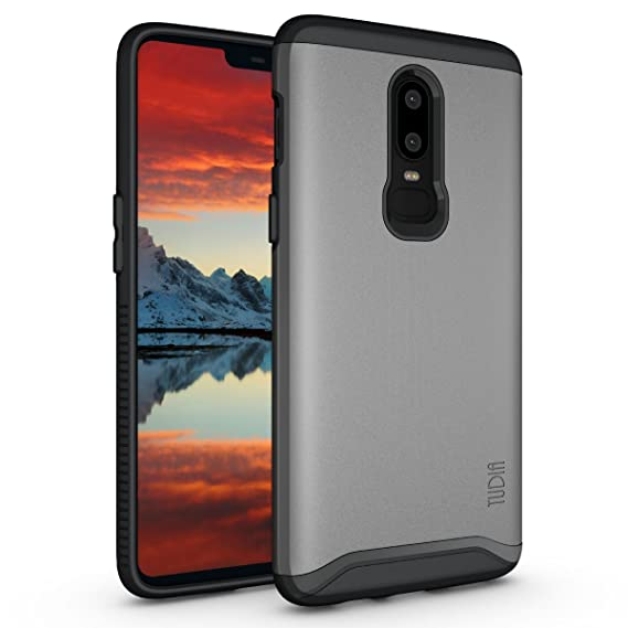 brand new 75243 11ffc OnePlus 6 Case, TUDIA Slim-Fit Heavy Duty [Merge] Extreme Protection/Rugged  but Slim Dual Layer Case for OnePlus 6 (Metallic Slate)