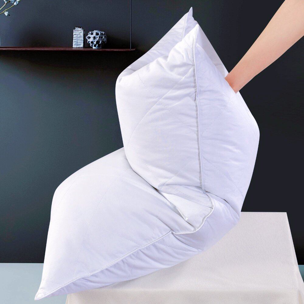 White Goose Feather Bed Pillow - 600 Thread Count Egyptian Cotton , Medium Firm,Soft Support Queen Size,White Solid (Queen Size:One pillow)