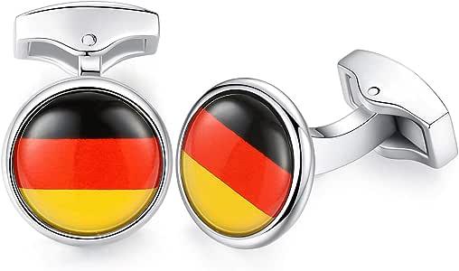 HONEY BEAR Gemelos para Hombres -Bandera Acero Inoxidable para Regalo de Boda de Negocios (Bandera Alemana de Alemania): Amazon.es: Joyería