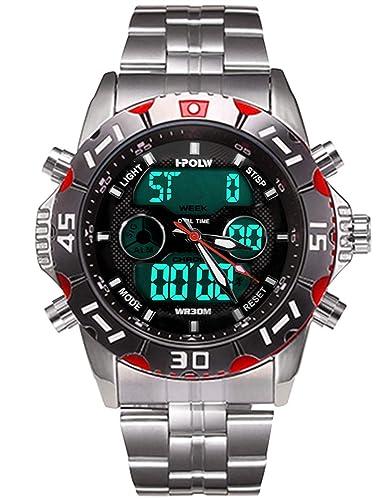 50cbd84c5231 Relojes Hombres Negros Reloj Militar Impermeable Deportivos Digital  Analogicos Hombre Reloj de Pulsera Cronógrafo Multifunción LED Alarma Día  Fecha ...