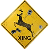 DEER CROSSING SIGN/BULLET HOLES/Rustic Hunting Cabin Lodge Street Road Decor new