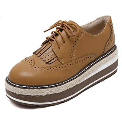 Easemax Women's Daily Platform Lace Up Oxford Shoes With Tassels