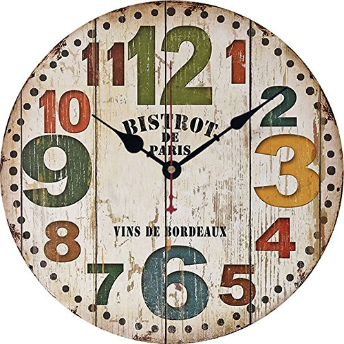 12 Inch Retro Wooden Wall Clock Farmhouse Decor, Silent Non Ticking Wall Clocks Large Decorative - Big Wood Atomic Analog Battery Operated - Vintage Rustic Colorful Tuscan Country Outdoor