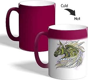 كوب سيراميك للقهوة بتصميم فن تشكيلي - رسمة حصان ، لون اخضر
