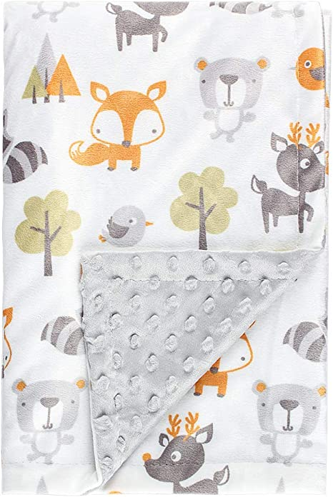 Woodland Baby Blanket Personalized Baby Blanket with Name Embroidered Minky Baby Blanket Fox Blanket Boy Baby Shower Gift Boy Blanket