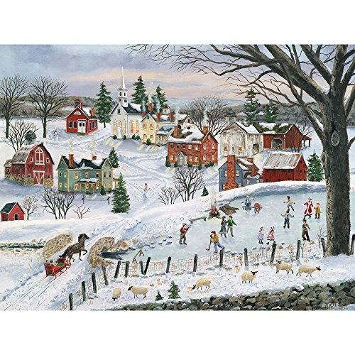 Bits and Pieces - 500 Piece Jigsaw Puzzle for Adults - The Red Sleigh - 500 pc Winter Holiday Skating Jigsaw by Artist Bob Fair