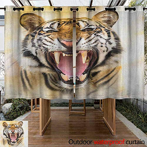Sliding Door Curtain,Tiger,Young Panthera Tigris Altaica Growling in Angry Manner Portrait of a Young Large Cat,Waterproof Patio Door Panel,K183C160 Multicolor