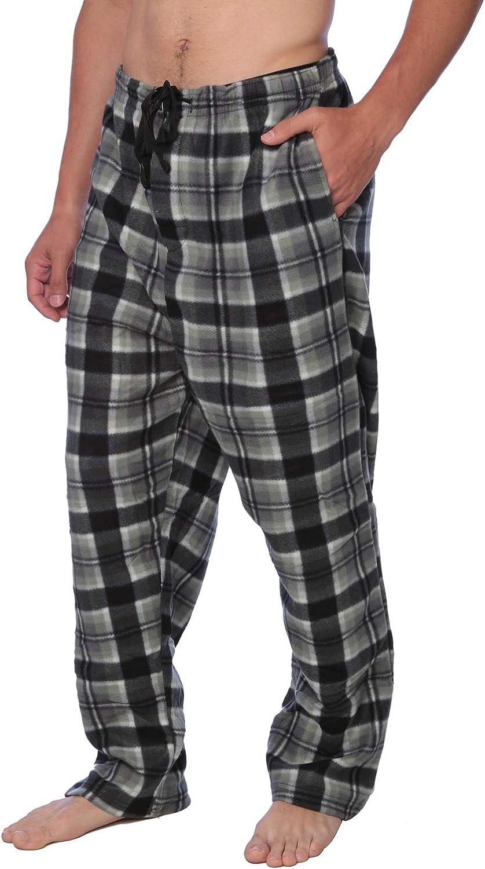 Active Club Men's PJ Pajama Fleece Lounge Plaid Bottoms Pants Microfleece (Single or 3 Pack), 12 Colors