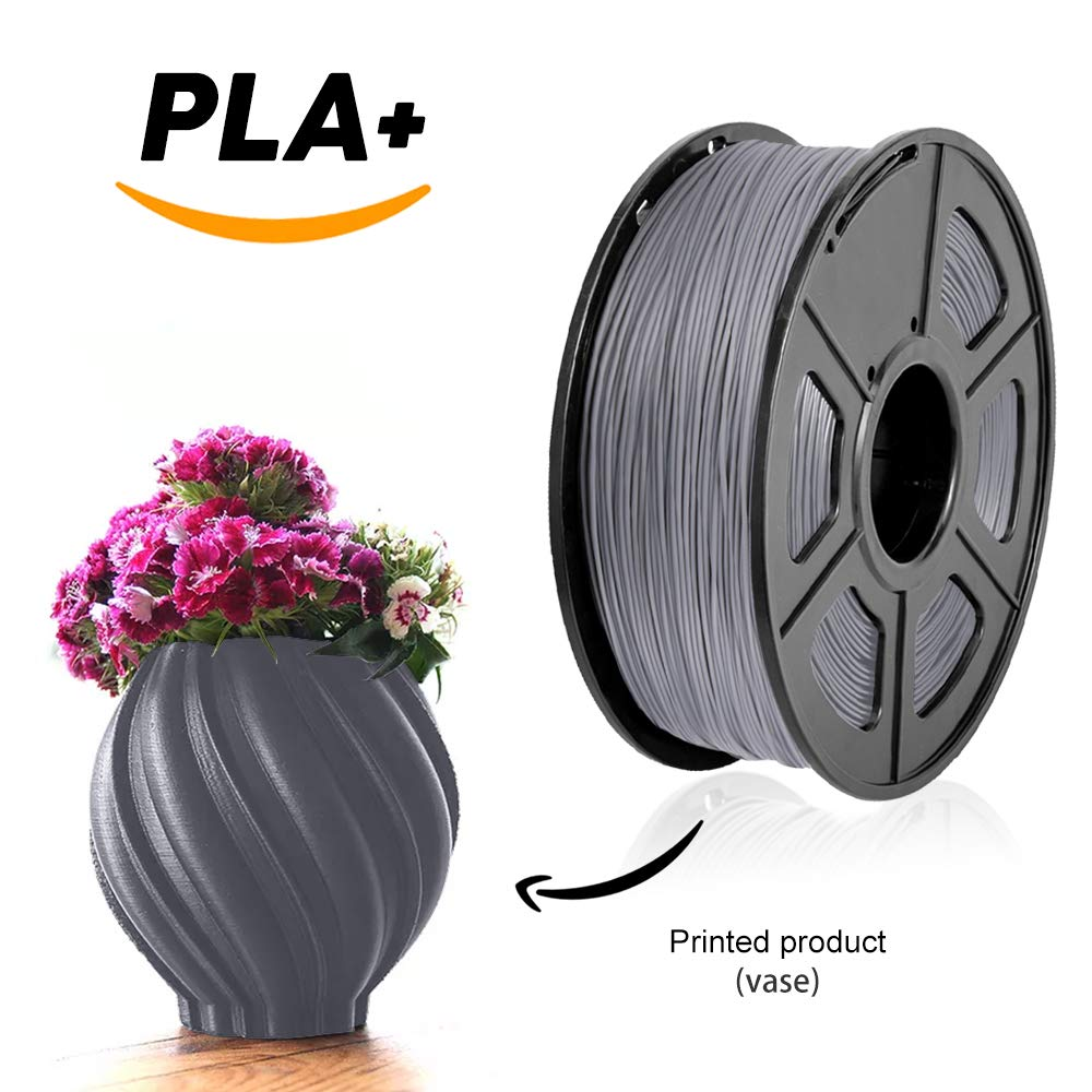 1 Kilogram 3D Printing Filament,2.2 LBS SUNLU 3D Printer Filament PLA Plus Black Black Spool for 3D Printers and 3D Pens PLA Plus Filament 1.75 mm,Low Odor Dimensional Accuracy 0.02 mm