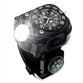 WCYWRIST Reloj Linterna,3en1 Linterna Super Brillante LED Multifunción Al Aire Libre IPX-6