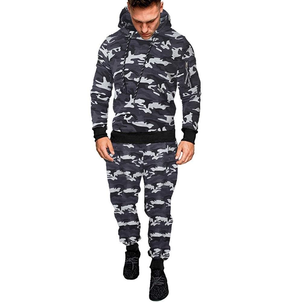 haoricu Men Sport Suit Camouflage Top Fitness Sports Hoodie Sweatpants Tracksuit
