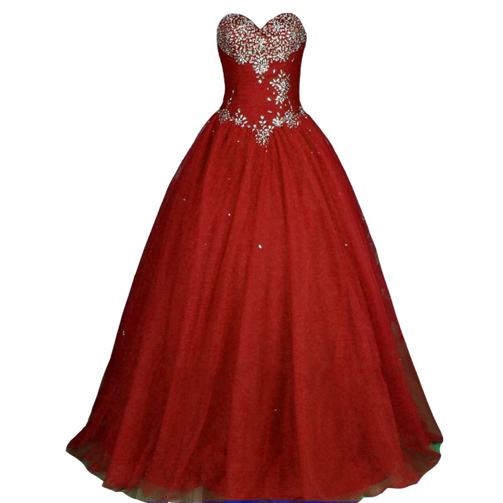 Kivary Crystals Sweetheart Long Ball Gown Corset Prom Quinceanera Pageant Formal Dresses Wine Red US8