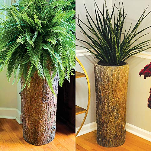 (Country Corner  Vintage Indoor Log Planter Stand  Tall Plant, Flower & Fern Pot  Large Rustic Cement Resin Flowerpot)
