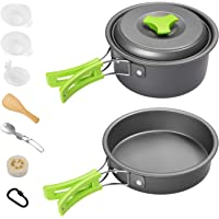 Gonex 11pcs/13pcs/16pcs/21pcs Camping Cookware Set Mess Kit, Backpacking Gear Cooking Equipment, Stackable Portable Non Stick Pot Pan Cook for Outdoors Hiking