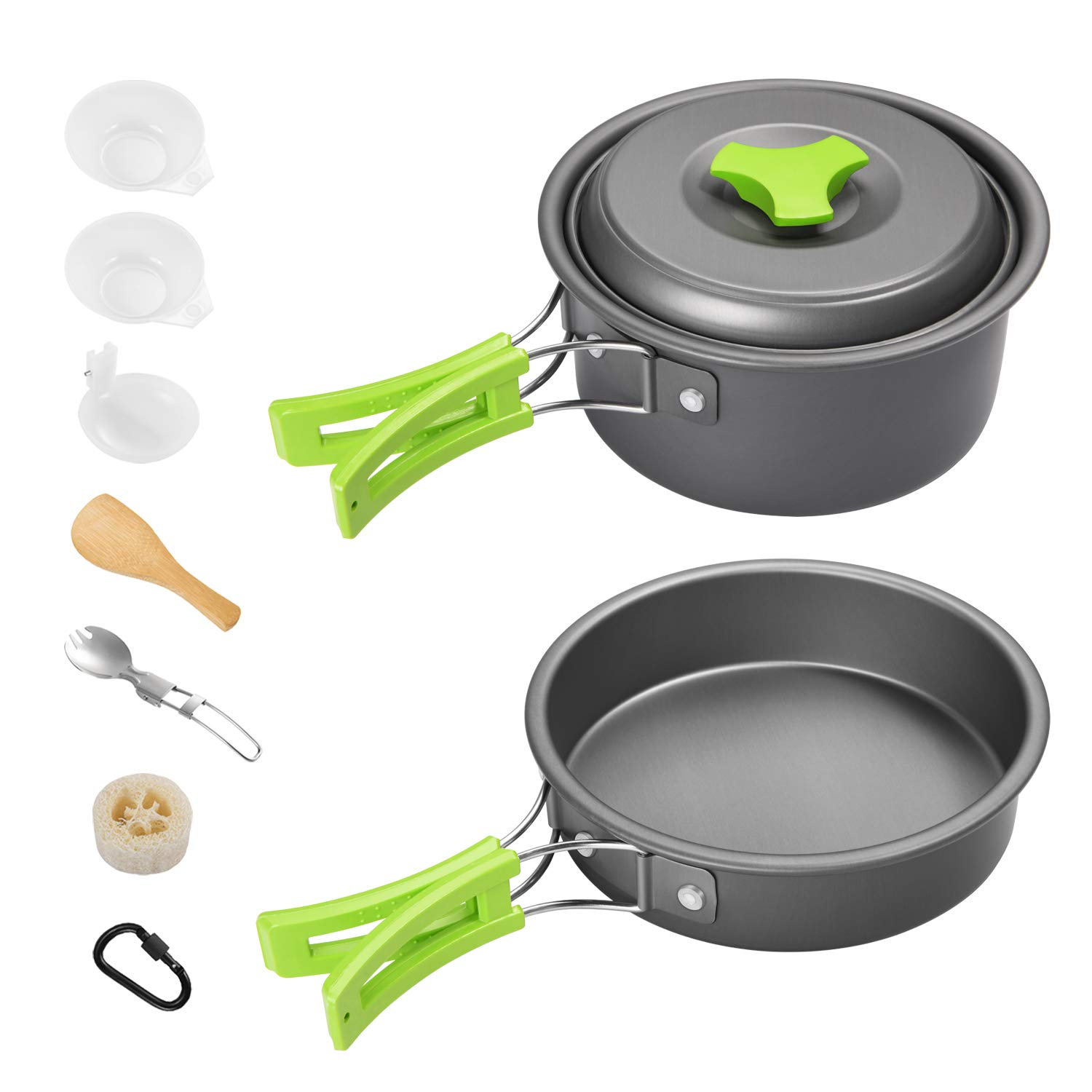 Gonex Camping Cookware Set Mess Kit, Backpacking Gear Cooking Equipment, Stackable Portable Non Stick Pot Pan Cook for Outdoors Hiking (Green 1L 11pcs) by Gonex