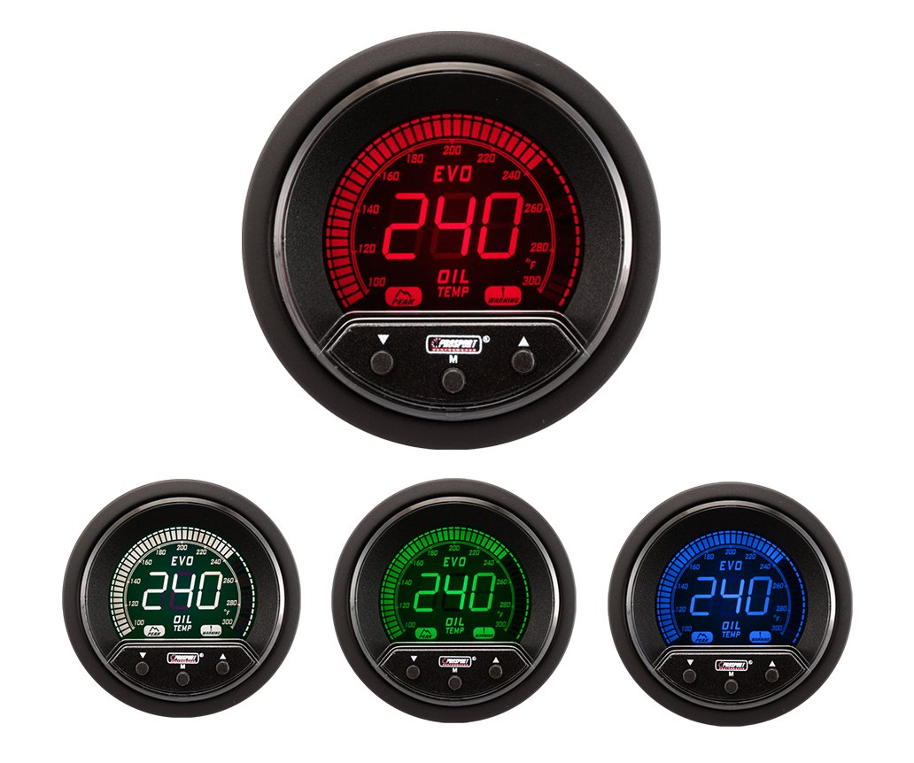 NEW Oil Temperature Gauge- Electrical Digital Green/white/red/blue Premium EVO Series 52mm (2 1/16) by Prosport Gauges Inc.
