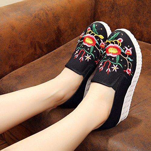 &QQ Zapatos bordados, lino, lenguado, estilo étnico, hembra, moda, cómodo, fondo grueso un pedal calza Black