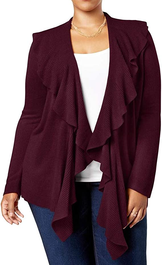 Karen Scott Womens Plus Ruffled Shawl Collar Cardigan Sweater