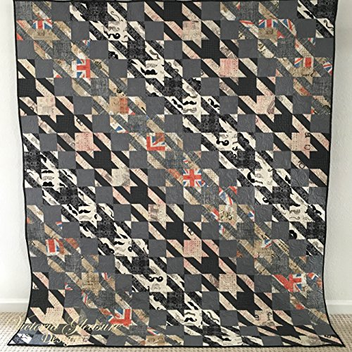 Houndstooth Pattern Quilt, With London and Mustache Fabric