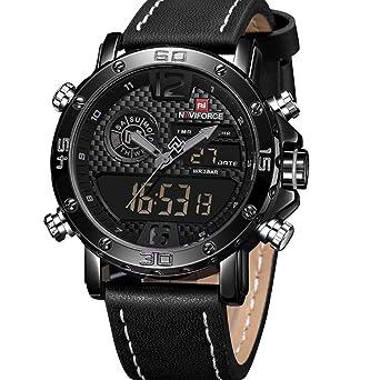c83003b586 NAVIFORCE Mens Waterproof Sport Watches Leather Digital Analog Watch Luxury  Casual Dual Time Wristwatch