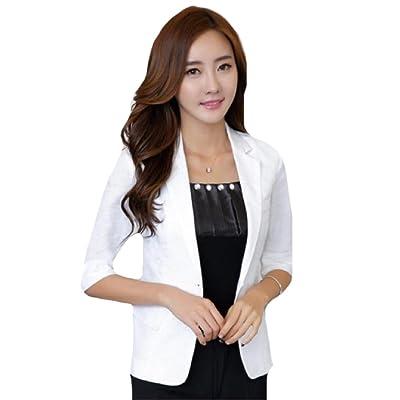 Abetteric Womens Linen Classics Business Basic Casual Suit Coat Jacket